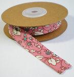 biaisband roze bloemen