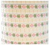 Wit band met roze bloemetjes,10 meter_