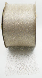 Organza lint glinstering champagne|63mm
