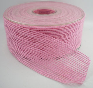 Jute band roze breed